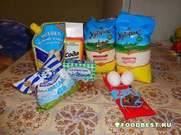Ингредиенты для манника с орехами