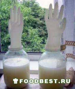 Вариант брожения медовухи с перчаткой