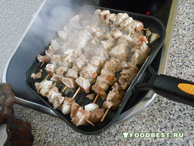мясо в процессе жарки