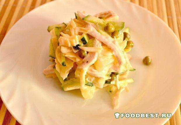 Куриный салат с консервированным ананасом