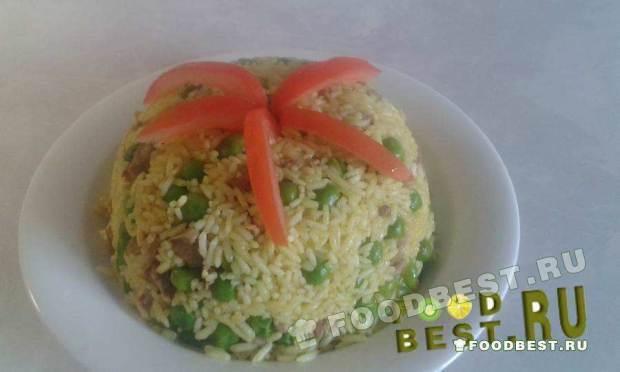 Каша по восточному рецепту из риса, мяса и зеленого горошка «Базалия Ма Рыз»
