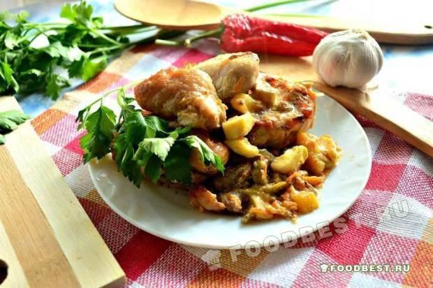 Закусочное блюдо из курицы и овощей