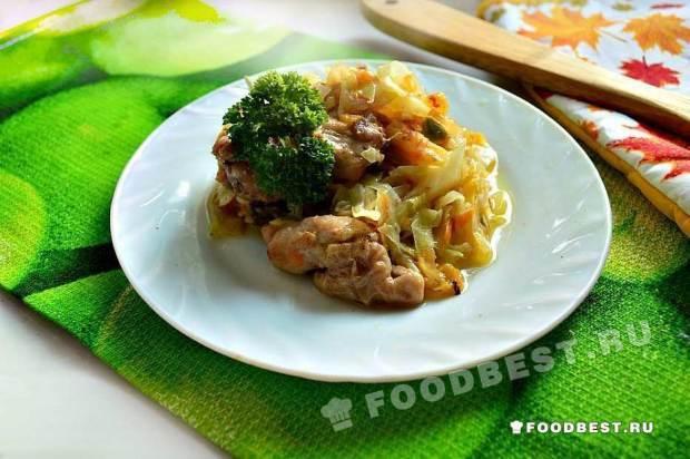 «Овощное трио» с куриными кусочками