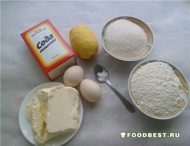 Ингредиенты на песочный лимонный пирог