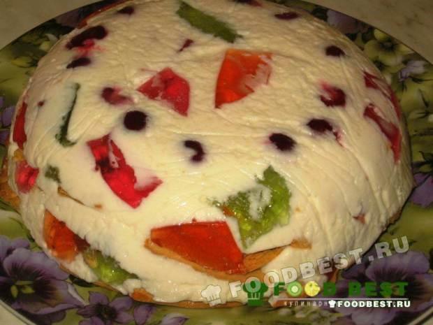Готовый желейный торт Битое стекло