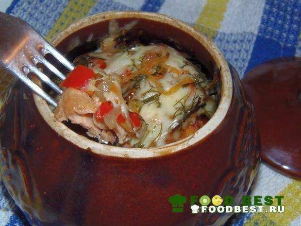 Горбуша с овощами в горшочках