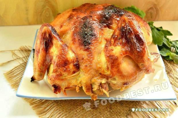 Цыпленок, запеченный с соевым соусом и молотым имбирем