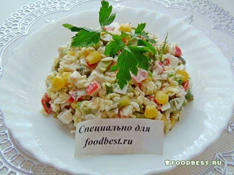 Салат с вермишелью быстрого приготовления с крабовыми палочками