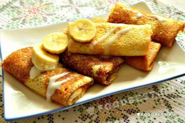 Налистники с банановой начинкой и сгущенным молоком