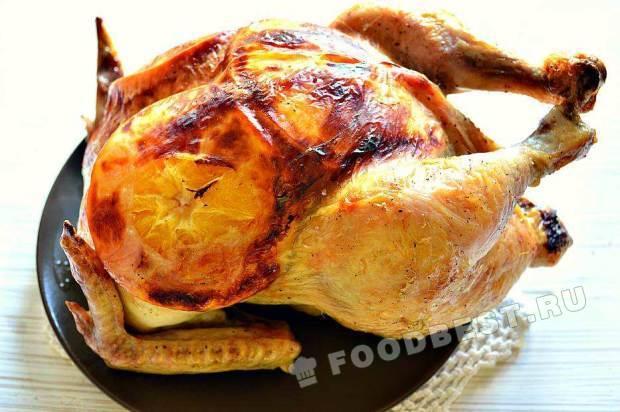 Курица с апельсинами и чесноком